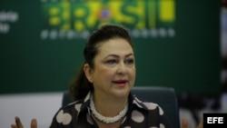 Katia Abreu, ministra de Agricultura de Brasil, durante una rueda de prensa en Brasilia.