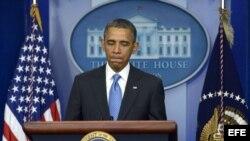 El presidente estadounidense Barack Obama durante una rueda de prensa celebrada en Washington, Estados Unidos hoy 30 de abril de 2013.
