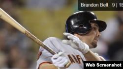 Brandon Belt, 1B de los Gigantes de San Francisco.