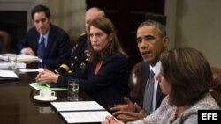 Barack Obama habla durante una rueda de prensa acerca del brote de ébola en África Occidental, octubre 6.