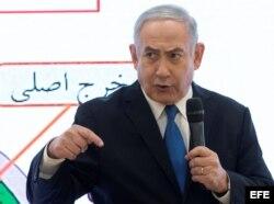 Netanyahu durante la presentación de los documentos sobre irán.