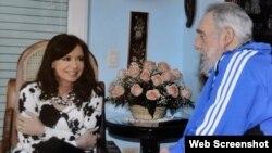 Cristina Fernández de Kirchner y Fidel Castro
