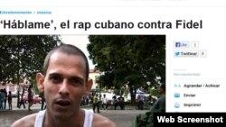 Artículo de El Comercio de Quito sobre rap que pide a Fidel Castro rendir cuentas. En la foto, Silvito el Libre.