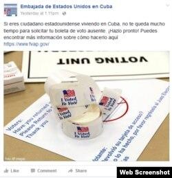 Aviso en la página de Facebook de la Embajada de EEUU en La Habana.