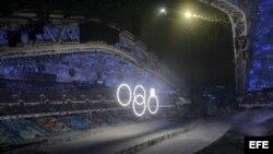 Imagen de un momento de la ceremonia de inauguración de los XXII Juegos Olímpicos de Invierno en la ciudad rusa de Sochi, el viernes 7 de febrero de 2014.