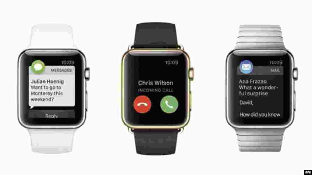 Fotografía facilitada por el gigante tecnológico Apple que muestra distintos modelos del reloj de pulsera inteligente Apple Watch durante una rueda de prensa que la compañía ha ofrecido en San Francisco, California.