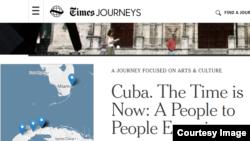 Anuncio de viaje a Cuba por The New York Times