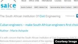 Declaración del Instituto de Ingenieros de Sudáfrica.