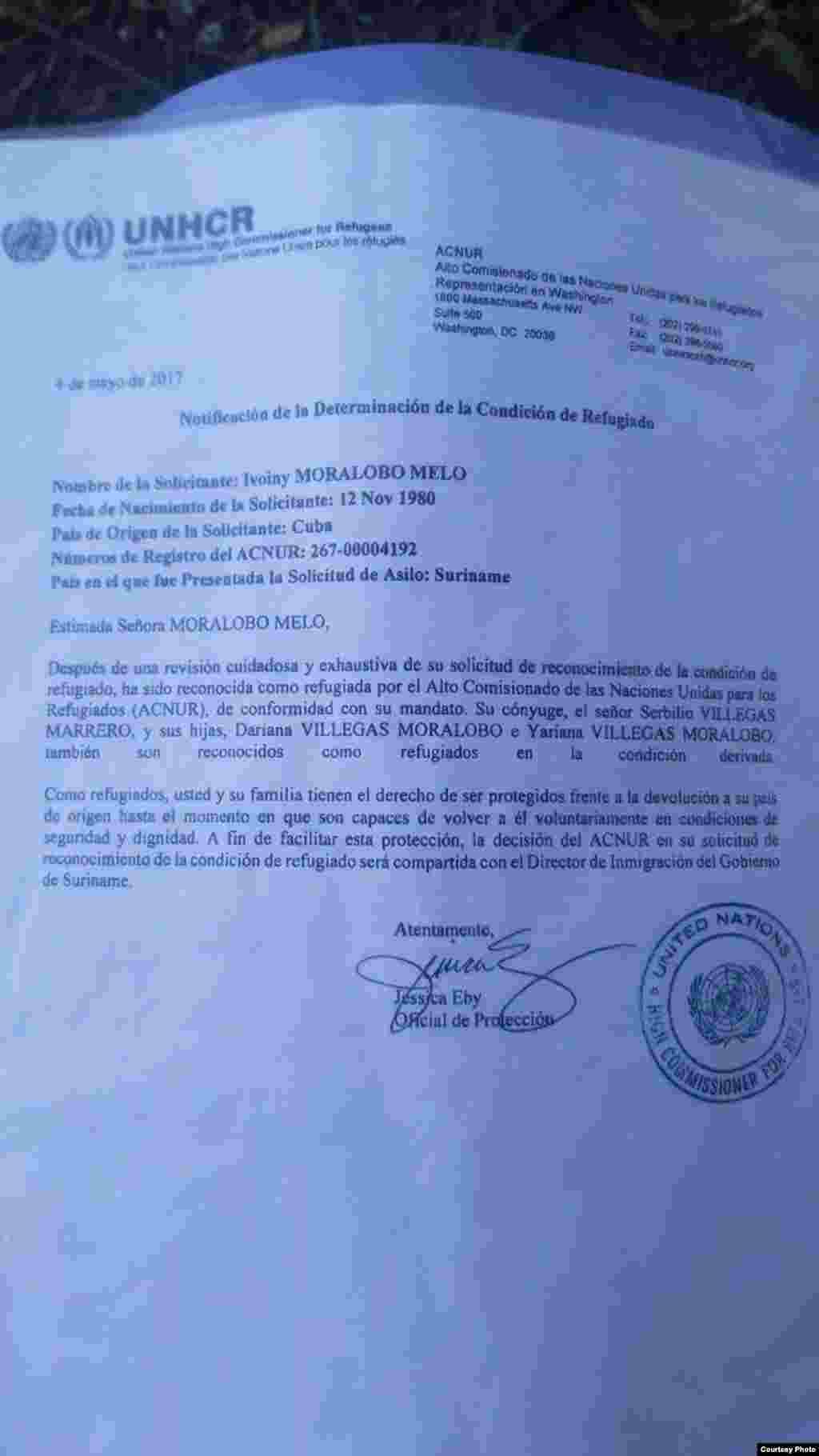 Notificación de la Determinación de la Condición de Refugiado, conferida a Ivoyni Moralobo Melo.
