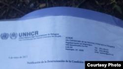 Documentos de refugiados de cubanos en Suriname