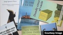 Portadas de libros de Neo Club Press que se presentarán en el Festival Independiente de Arte y Literatura de Miami.