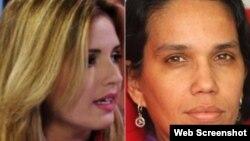 La periodista oficialista Cristina Escobar (izq.) y la reportera del medio independiente 14yMedio, Luz Escobar.