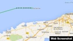 La línea verde al norte de las costas cubanas indica el curso del Da Dan Xia, que lleva a bordo los pertrechos militares descubiertos en Colombia.