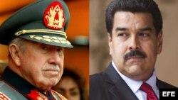combinación de fotografías de Augusto Pinochet (1917-2006) y Nicolás Maduro.
