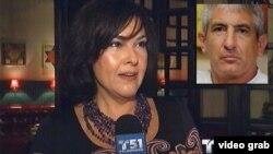Ana Margarita Martínez habla con el canal 51 de Miami. En el recuadro, el espía Roque.