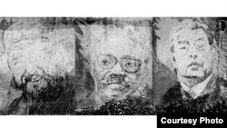 Mural en Angola con imágenes de Castro, Neto y Brezhnev.