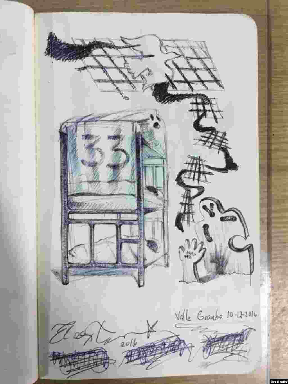 Dibujos de El Sexto en prisión, diciembre 2016. Tomado de la cuenta de Facebook Danilo Maldonado Machado.