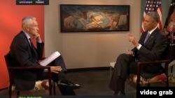 Jorge Ramos entrevista al presidente Obama para el canal multicultural Fusion.