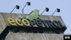 Vista del logo de la petrolera estatal colombiana Ecopetrol