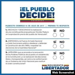Las tres preguntas del plebiscito ciudadano en Venezuela