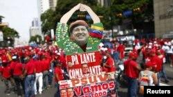 Un grupo de seguidores de Hugo Chávez.