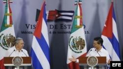 Durante visita de Raúl Castro a México en noviembre.