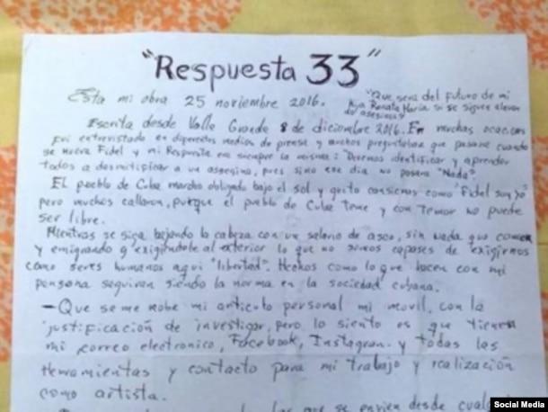 La carta escrita por el grafitero El Sexto en la prisión de Valle Grande.