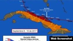 Trayectoria del Huracán Irma por Cuba