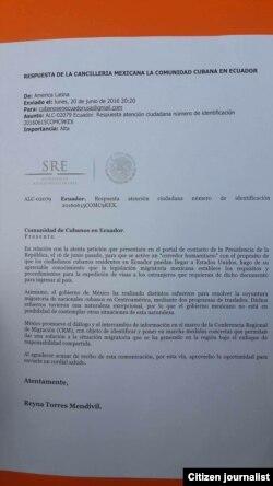 Respuesta del gobierno mexicano a cubanos varados en Ecuador.