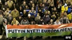 Protesta contra la visita del presidente ruso Vladimir Putin.