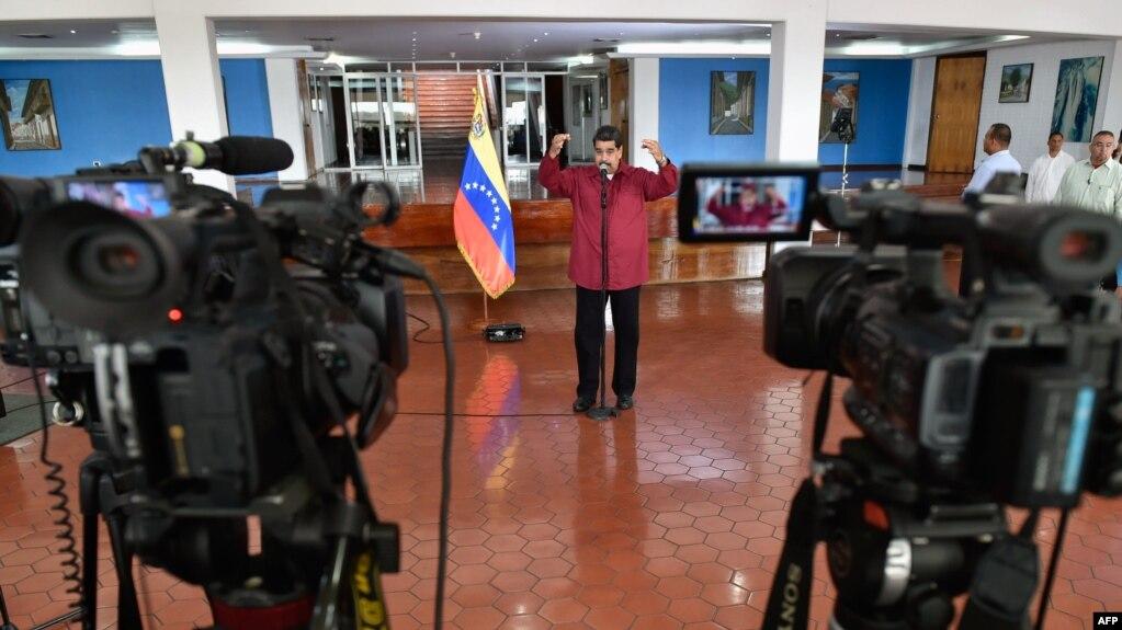 Nicolás Maduro en una conferencia de prensa.