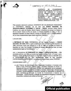 Contrato firmado entre Cuba y BNDES para la financiación de reconstrucción y ampliación de la Autopista Nacional por la Compañía de Obras e Infraestructura/Odebrecht.