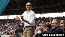 El presidente de EEUU, Barack Obama, en el estadio Latinoamericano, el 22 de marzo de 2016.