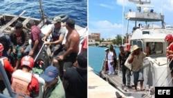 Fotos de la Secretaría de Marina de México sobre el rescate de 17 cubanos cerca de Punta Cancún.