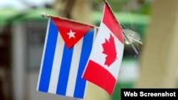 Banderas de Cuba y Canadá.