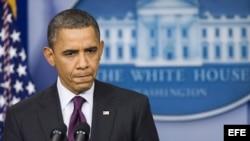 STX05 WASHINGTON (EE.UU.), 6/3/2012.- El presidente estadounidense, Barak Obama, comparece en una rueda de prensa en la Casa Blanca en Washington DC, Estados Unidos, hoy, martes 6 de marzo de 2012. Obama afirmó durante esta comparecencia que atacar a Siri