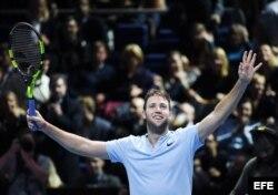 Jack Sock celebra tras vencer a Alexander Zverec.
