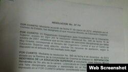 Resolución ministerial que oficializa la expulsión del estudiante.