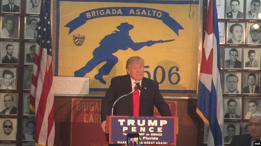 El candidato presidencial Donald Trump en la Pequeña Habana