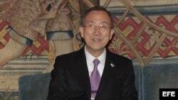 El secretario general de la ONU, Ban Ki-moon, hoy en Madrid