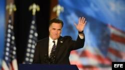 El candidato republicano a la presidencia, Mitt Romney, se dirige a sus seguidores con un discurso en el Centro de Convenciones de Boston en Estados Unidos.
