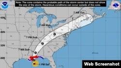 Posible trayectoria del huracán Nate, según el Centro Nacional de Huracanes de EEUU (NHC).