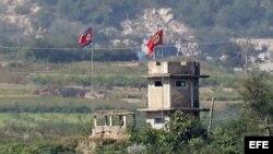 Vista de un puesto de control militar norcoreano.