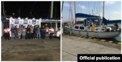 En el velero canadiense Wimb Quest IV, anclado en Cartagena, se ocultaban 28 cubanos.