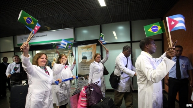 Cuban doctors arrive at Brasilia International Airport.