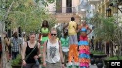 Turistas en la Habana Vieja.