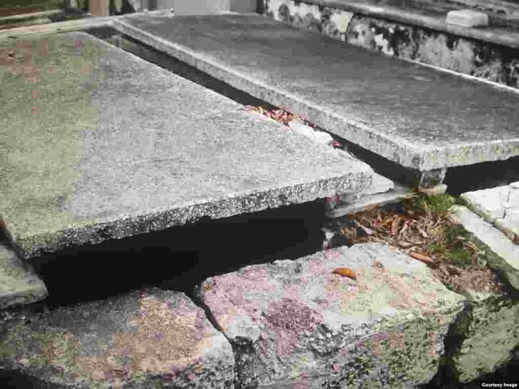Deterioro y destrucción en las tumbas del Cementerio de Colón.