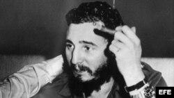 Fidel Castro en su habitación del Hotel Hilton de Nueva York.