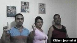 Foto: Cristianosxcuba de izq a der Juan Miguel Acosta Bermúdez, Niurcys Acosta, Raúl González Manso.