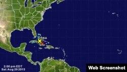 Los restos de la tormenta tropical Erika.